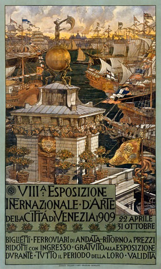 Esposizione Int D Arte Della Citta Di Venezia 1909   Vintage Ad and Cover Art 1891-1970