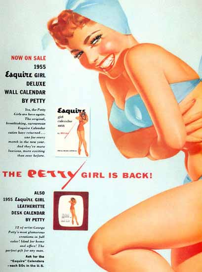 Esquire The Petty Girl is Back 1955 Pin-Up Girl George Petty Sex Appeal | Sex Appeal Vintage Ads and Covers 1891-1970