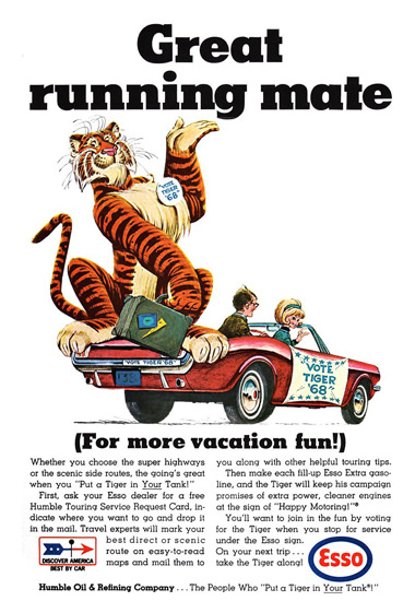 Esso Tiger Great Running Mate 1968 | Vintage Ad and Cover Art 1891-1970