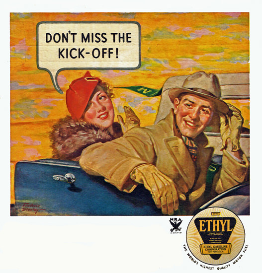 Ethyl Gasoline Dont Miss The Kick Off 1933 | Sex Appeal Vintage Ads and Covers 1891-1970