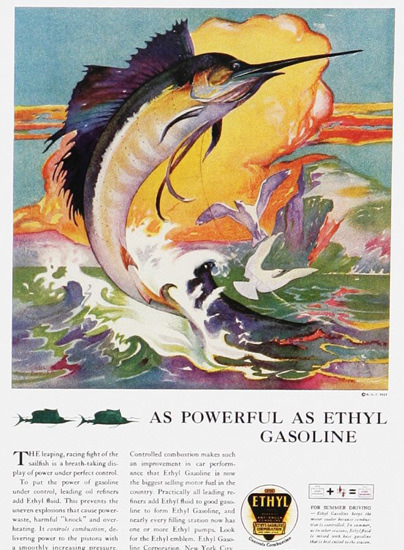 Ethyl Gasoline Powerful As Ethyl Gasoline 1930s | Vintage Ad and Cover Art 1891-1970