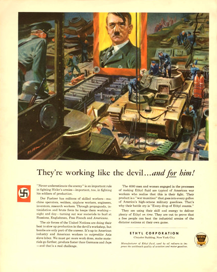 Ethyl Theyre Working Like Devil For Hitler 1943 | Vintage War Propaganda Posters 1891-1970