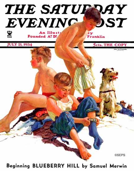 Eugene Iverd Saturday Evening Post After a Swim 1934_07_21 | The Saturday Evening Post Graphic Art Covers 1931-1969