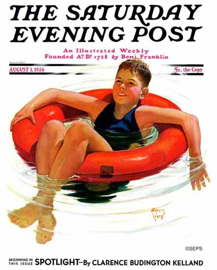 Eugene Iverd Saturday Evening Post Boy in Inner Tube 1936_08_01   The Saturday Evening Post Graphic Art Covers 1931-1969
