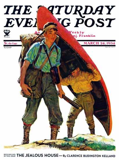 Eugene Iverd Saturday Evening Post Canoe Portage 1934_03_24 | The Saturday Evening Post Graphic Art Covers 1931-1969
