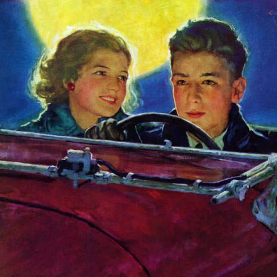 Eugene Iverd Saturday Evening Post Car Ride 1933_01_07 Copyright crop | Best of Vintage Cover Art 1900-1970