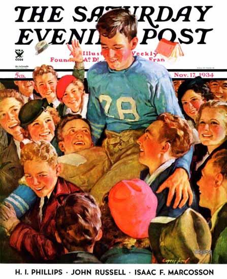 Eugene Iverd Saturday Evening Post Football Hero 1934_11_17 | The Saturday Evening Post Graphic Art Covers 1931-1969