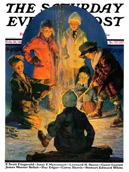 Eugene Iverd Saturday Evening Post Skaters Bonfire 1931_02_21 | The Saturday Evening Post Graphic Art Covers 1931-1969