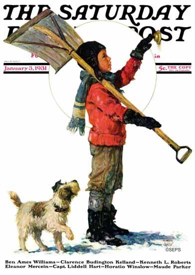 Eugene Iverd Saturday Evening Post Snow Shoveler 1931_01_03 | The Saturday Evening Post Graphic Art Covers 1931-1969