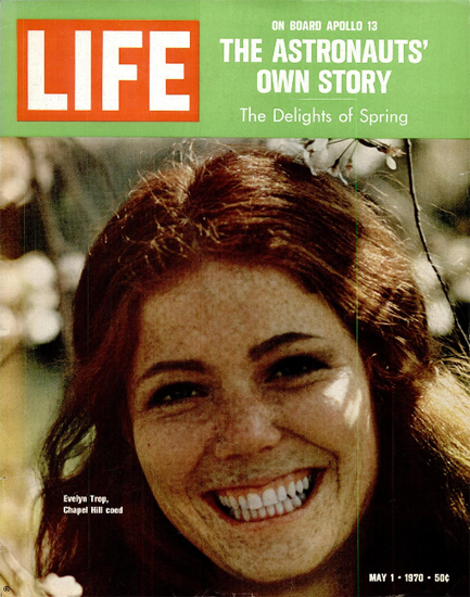 Evelyn Trop Chapel Hill Coed 1 May 1970 Copyright Life Magazine   Life Magazine Color Photo Covers 1937-1970