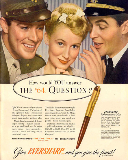Eversharp Presentation Pen Question 1944 | Sex Appeal Vintage Ads and Covers 1891-1970