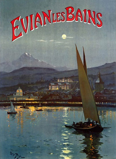Evian Les Bains 1905 Lake Mountains By Night   Vintage Travel Posters 1891-1970