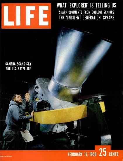 Explorer scans Sky for US Satellite 17 Feb 1958 Copyright Life Magazine | Life Magazine Color Photo Covers 1937-1970
