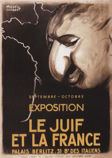 Exposition Le Juif Et La France Exhibition Jews A | Vintage War Propaganda Posters 1891-1970