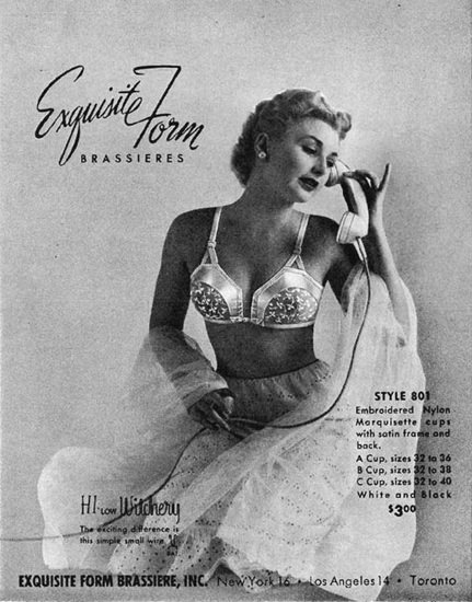 Exquisite Form Brassiere 1950 The Phone Call | Sex Appeal Vintage Ads and Covers 1891-1970