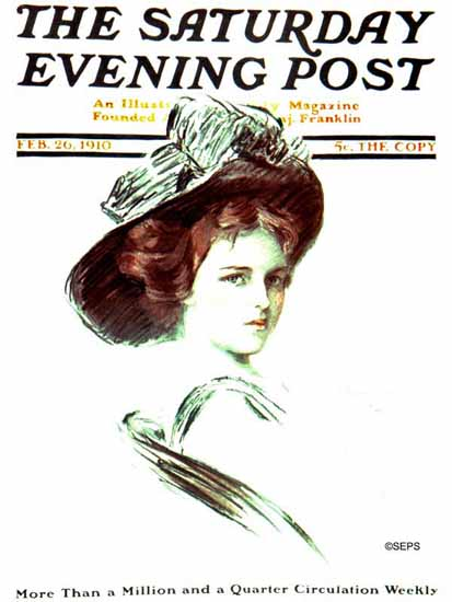 F Graham Cootes Saturday Evening Post Cover Art 1910_02_26 | The Saturday Evening Post Graphic Art Covers 1892-1930