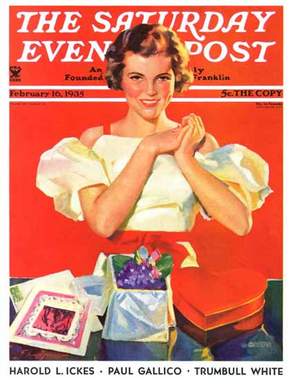 F Sands Brunner Cover Artist Saturday Evening Post Valentines gifts 1935_02_16 | The Saturday Evening Post Graphic Art Covers 1931-1969