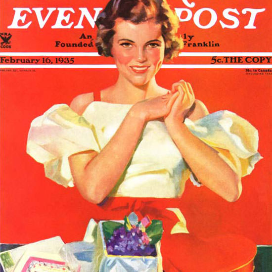 F Sands Brunner Saturday Evening Post Gifts 1935_02_16 Copyright crop | Best of 1930s Ad and Cover Art