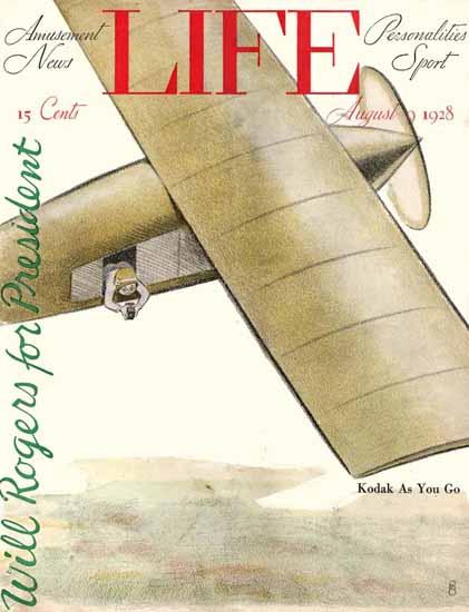 FG Cooper Life Magazine Kodak As You Go 1928-08-09 Copyright | Life Magazine Graphic Art Covers 1891-1936