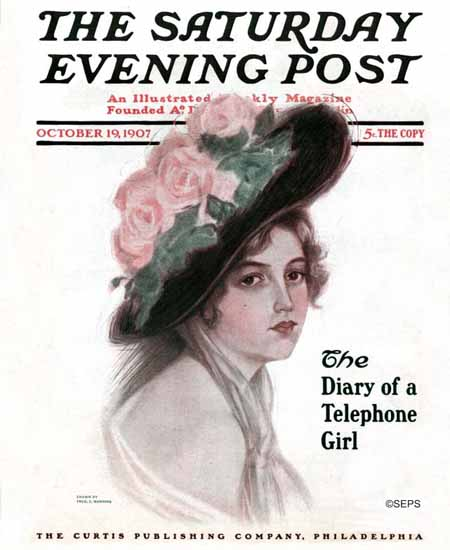FS Manning Saturday Evening Post Diary of a Thelephone Girl 1907_10_19 | The Saturday Evening Post Graphic Art Covers 1892-1930