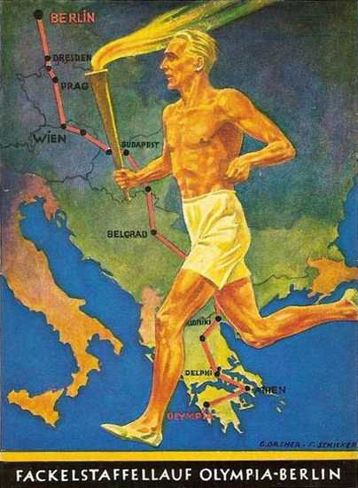 Fackelstaffellauf Olympia-Berlin 1936 Germany | Vintage War Propaganda Posters 1891-1970