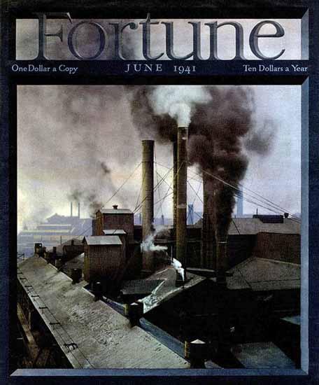 Factory Chimneys Fortune Magazine June 1941 Copyright   Fortune Magazine Graphic Art Covers 1930-1959