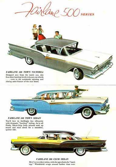 Fairlane 500 1958 Series Ad | Vintage Cars 1891-1970