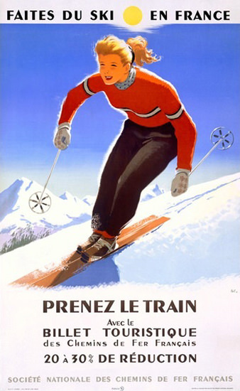 Faites Du Ski En France Le Train Downhill Ski | Vintage Travel Posters 1891-1970