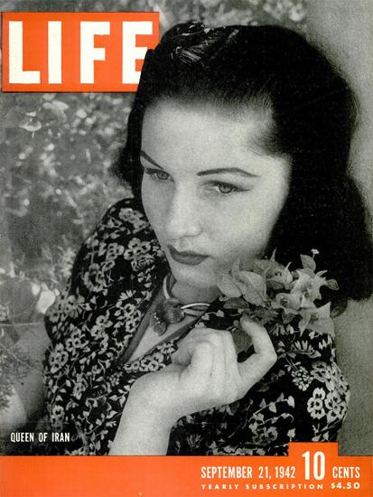 Fawzia Fuad Queen of Iran 21 Sep 1942 Copyright Life Magazine | Life Magazine BW Photo Covers 1936-1970