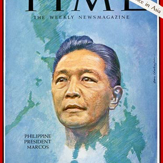 Ferdinand Marcos Time Magazine 1966-10 by Boris Chaliapin crop | Best of Vintage Cover Art 1900-1970