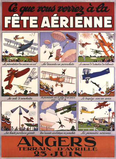 Fete Aerienne Angers France | Vintage Ad and Cover Art 1891-1970
