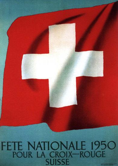 Fete Nationale Pour La Croix Rouge 1950 Suisse   Vintage Ad and Cover Art 1891-1970