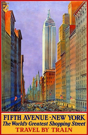 Fifth Avenue New York Worlds Shopping Street | Vintage Travel Posters 1891-1970