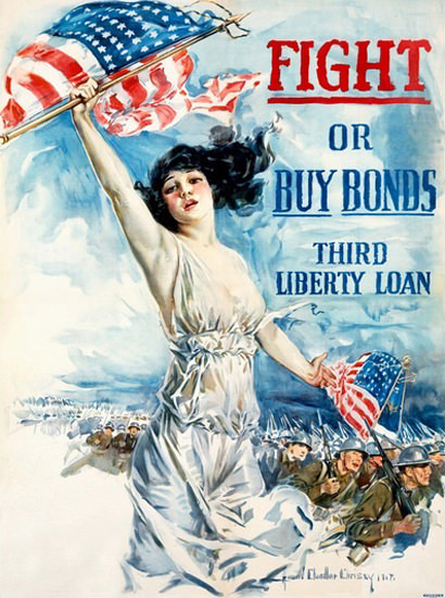 Fight Or Buy Bonds Third Liberty Loan Christey | Vintage War Propaganda Posters 1891-1970