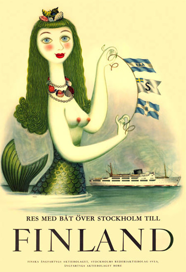 Finland By Boat From Stockholm 1952 Mermaid | Sex Appeal Vintage Ads and Covers 1891-1970