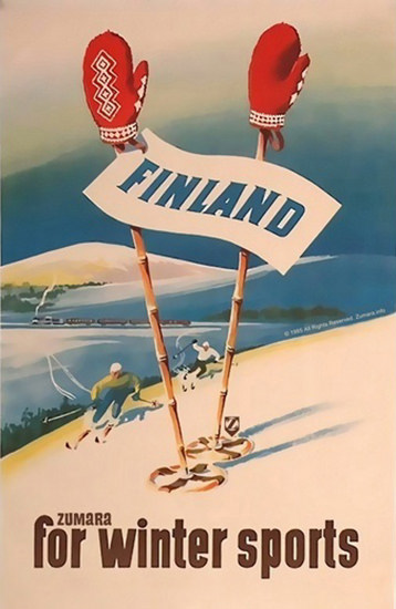 Finland For Winter Sports Skiing | Vintage Travel Posters 1891-1970