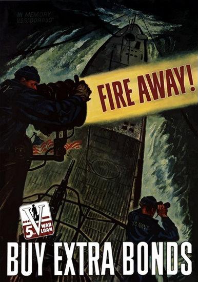 Fire Away Buy War Extra 5th War Loan Warship | Vintage War Propaganda Posters 1891-1970
