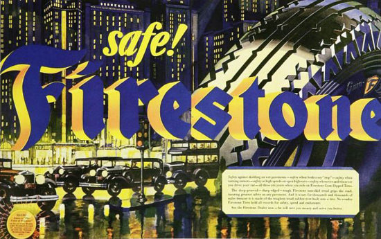 Firestone Tires Safe 1920s | Vintage Ad and Cover Art 1891-1970