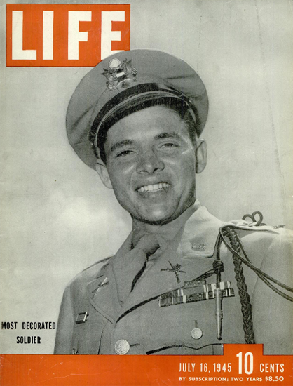 First Lieutenant Audie Murphy 16 Jul 1945 Copyright Life Magazine | Life Magazine BW Photo Covers 1936-1970