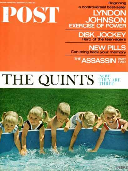 Fischer Quints at Three Saturday Evening Post 1966_09_24 | Vintage Ad and Cover Art 1891-1970