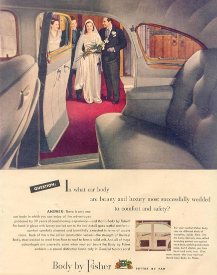 Fisher Body On GM Cars Wedding 1948 | Vintage Ad and Cover Art 1891-1970