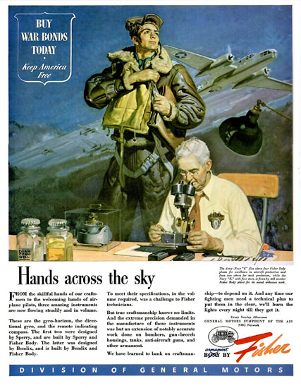 Fisher General Motors Hands Across The Sky | Vintage War Propaganda Posters 1891-1970