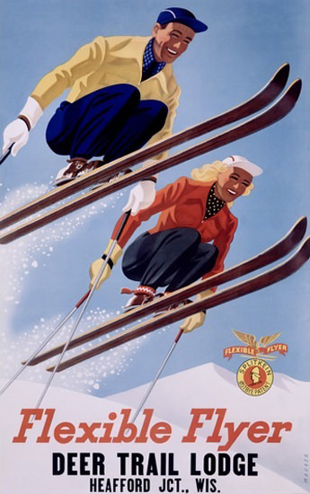 Flexible Flyer Skis Deer Trail Lodge Hearford | Vintage Travel Posters 1891-1970