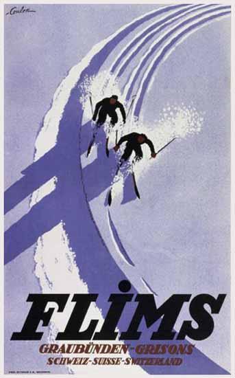 Flims Graubuenden Grisons Schweiz Switzerland 1932 | Vintage Travel Posters 1891-1970