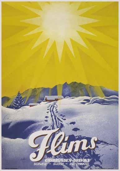 Flims Graubuenden Grisons Schweiz Switzerland 1937   Vintage Travel Posters 1891-1970