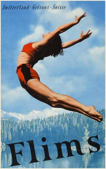 Flims Grisons Suisse Switzerland Alpine Lakes 1947 | Vintage Travel Posters 1891-1970