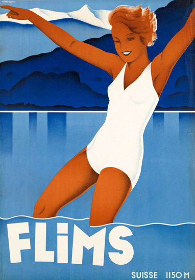 Flims Suisse 1150m Switzerland 1930s | Sex Appeal Vintage Ads and Covers 1891-1970