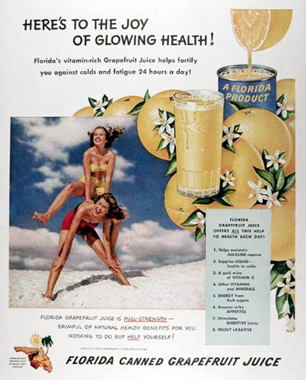 Florida Grapefruit Juice 1950 Glowing Health | Sex Appeal Vintage Ads and Covers 1891-1970