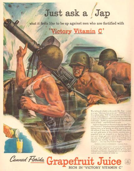 Florida Grapefruit Juice Just Ask A Jap 1943   Vintage War Propaganda Posters 1891-1970