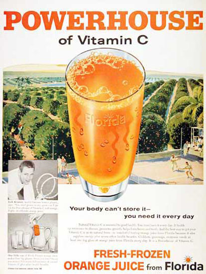 Florida Orange Juice 1959 Fresh-Frozen | Vintage Ad and Cover Art 1891-1970